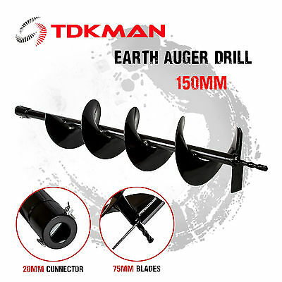 150mm Auger Bit Drill for Petrol Post Hole Digger, Earth Auger, Standard 20mm