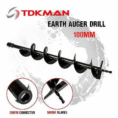 100mm Auger Bit Drill for Petrol Post Hole Digger, Earth Auger, Standard 20mm