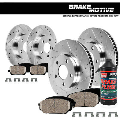 Front+Rear Drilled Slotted Brake Rotors And Ceramic Pads Chevy Cobalt Malibu G6
