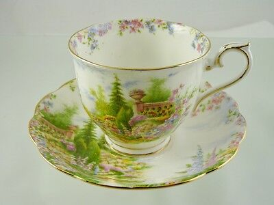 Kentish Rockery Cup & Saucer Footed By Royal Albert China Co England