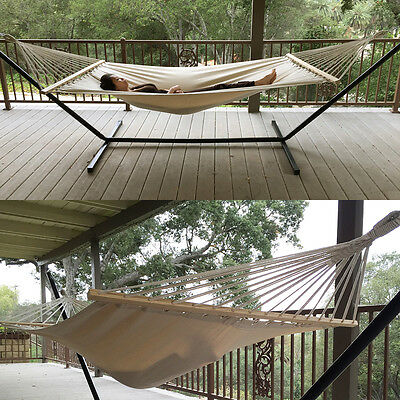 330lb Outdoor Swing Chair Hanging Camping Cotton Double Bed Patio Canvas Hammock