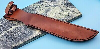 "Brown Leather Fixed Blade Knife Belt Sheath Pouch for up to 7 1/4"" Marine Bowie"