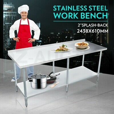 2438mm x 610mm New Stainless Steel Kitchen Work Bench Food Prep Catering Table