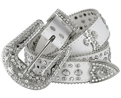 Western Rhinestone Cowgirl Studded Crystal White Leather Cross Concho Belt