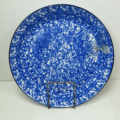 Vintage Stangl Town & Country Pie Plate Blue White Sponge Painted