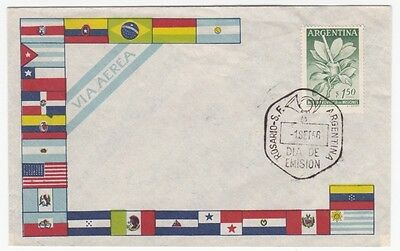 Argentina 1956 Flower Flags Cacheted FDC