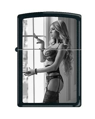 Zippo Pin-Up Lighter/ Very Busty Black Lace Blonde /black Matte/new-Seal Intact