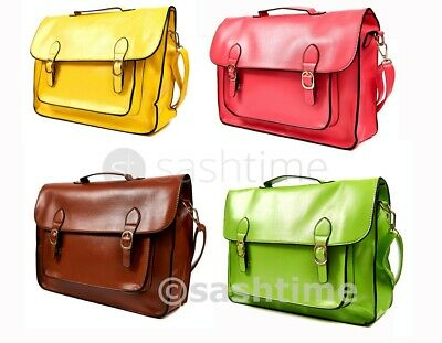 New Ladies Large Vintage Leather Style Work Handbag School Satchel Shoulder Bag