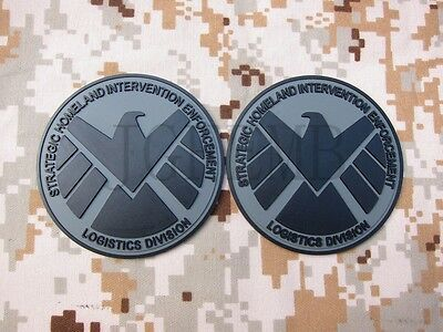 Grey The Avengers S.H.I.E.L.D Tactical Military Morale 3D PVC Patch words