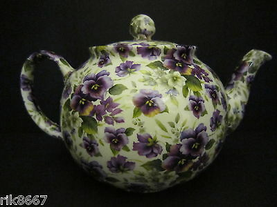 Heron Cross Pottery Pansy (ivory background) Chintz 6-8 Cup English Tea Pot