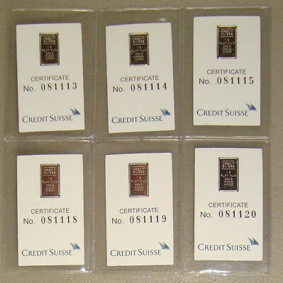 Lot of (6) Credit Suisse .9995 Fine 1 Gram Platinum Bullion Bars