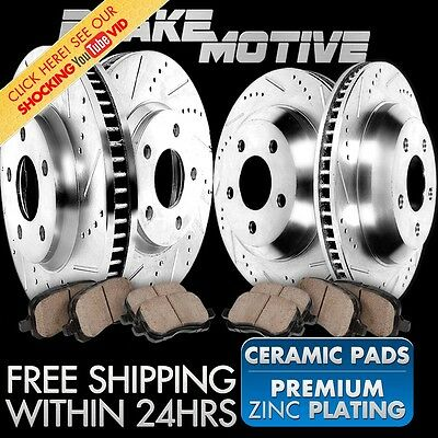 FRONT+REAR 4 PERFORMANCE DRILLED SLOTTED BRAKE ROTORS AND 8 CERAMIC PADS M120522