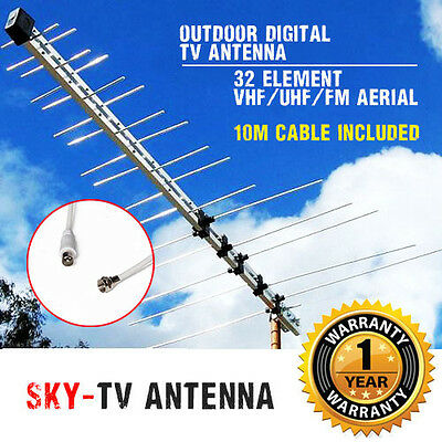 New TV Antenna 32 Element Log Periodic Outdoor UHF VHF FM HDTV Digital Aerial