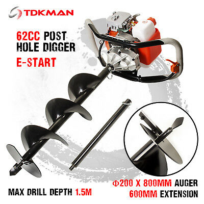 New TDKMAN 62cc Petrol Post Hole Digger Earth Auger 200mm Drill Fence Borer Bits