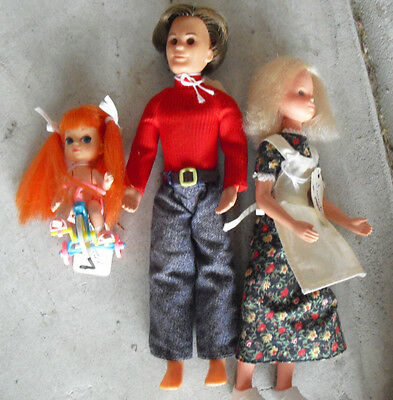 Lot of  Vintage 1970s Mattel Sunshine Family Man Woman Baby Dolls