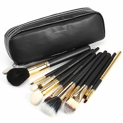 Fraulein3°8 Pro trousse zip 12 pinceaux de maquillage cosmetique poil naturel