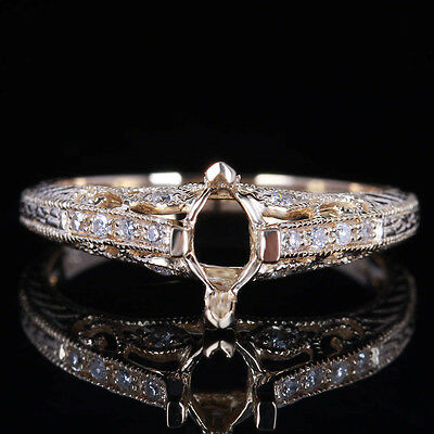 10K Yellow Gold Semi Mount Engagement Ring 7x4mm Marquise Cut Pave.18CT Diamonds
