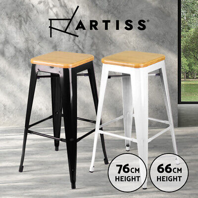 4x Tolix Bar Stools Replica Xavier Metal Steel Chairs BAMBOO SEAT Kitchen