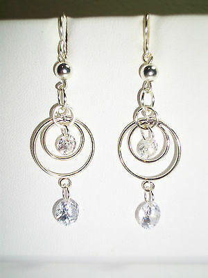CRYSTAL DANGLE EARRING KIT JUMP RINGS CHAIN MAILLE W/CZ STONE CHOOSE YOUR COLOR!
