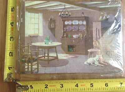 1950 's OLD lithograph Art lot of 2 cabin kitchen and dog by Litho USA NY 5X7
