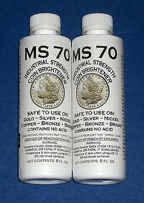 TWO MS70 Coin Cleaner Brightener and Cleaner for Gold Silver Copper Nickel