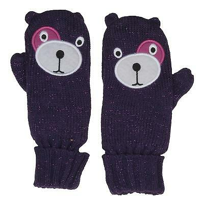 RJM Girls Knitted Bear Mittens with Soft Brushed Lining