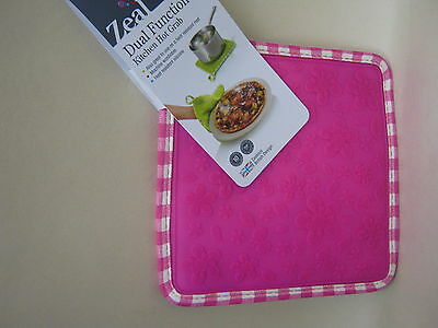 New CKS Zeal Dual Function Silicone Kitchen Hot Grab Mat Square V107 Pink