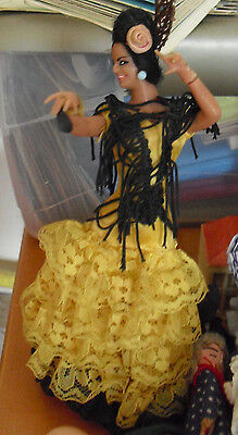 "Vintage 1960s Plastic Marin Flamenco Dancer in Yellow Girl Doll 7"" Tall"