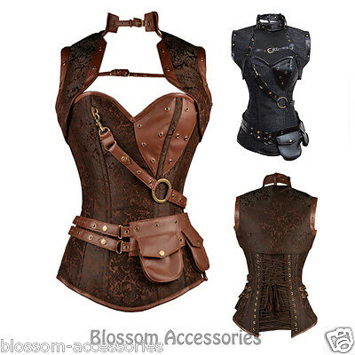CC73 Steampunk Boned Corset Brown Leather Gothic Halloween Top with Jacket