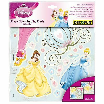 Disney Princess Glow In The Dark Wall Stickers New 100% Offical