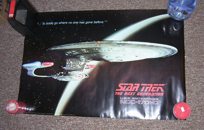 "STAR TREK Next Generation: ENTERPRISE 1701 D (in orbit)  POSTER 24"" x 36"" 1991"