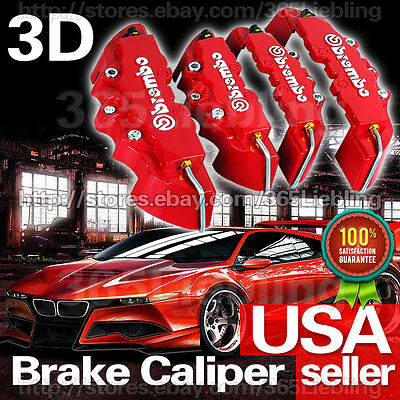 Red 3D Brembo Style Brake Caliper Covers Universal Car Disc Front Rear Kits CC14