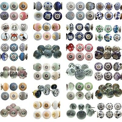 6 PACK SET CERAMIC KNOBS Drawer Pulls Cupboard Handles Door Vintage Shabby Chic