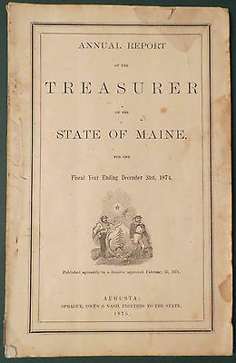1875 Annual Report Treasurer State of Maine for 1874