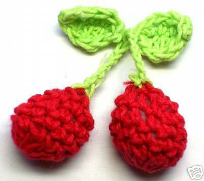 10 Red/Green Crochet Cherry Leaf Sewing Appliques