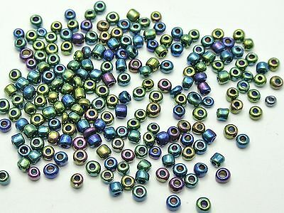 1000 Peacock Blue Glass Seed Beads Rondelle 4mm (6/0)