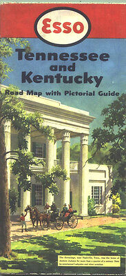 1952 Esso Tennessee/Kentucky Vintage Road Map /The Hermitage on Cover