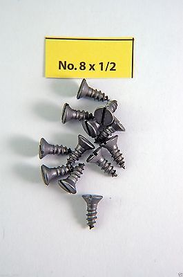 "Wood Screws Flat Head Slotted Steel #8 X 1/2"" WS812"