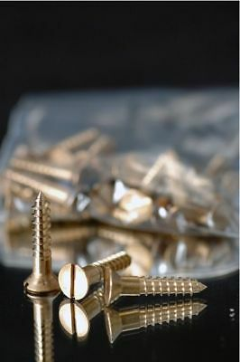 Wood Screws Slotted Flat Head Bronze #10 x 1-1/4""