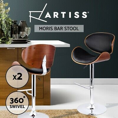 2 X Wooden Bar Stool Barstool Kitchen Dining Chair Black Pad Gas Lift 8035