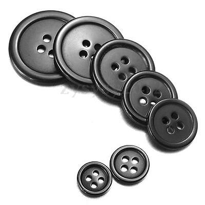 50/100 Black Round Resin Buttons Sewing Crafts Coat Jacket Button 4 hole 10~25mm