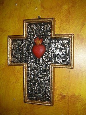 "Sacred Heart Milagro Cross -NEW-9.5x12-Mexican Folk Art-Wood-Handmade-""Miracles"""