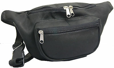 David King Vaquetta Leather Two Zippered Waist / Fanny Pack - Black