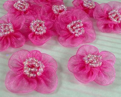 Organza Beaded Flower Sewing Appliques Trim x 60 Hot Pink