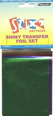 10 Sheets Transfer Foils Assorted Colours Red Blue Green Silver & Gold S57067