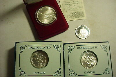 3 George Washington Commemorative 90% Silver Half Dollars + Bill Of Rights Coin