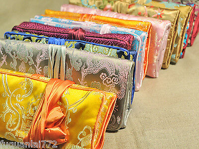 Wholesale 10pcs Mix Colour Silk Brocade Travel Roll Bag Jewelry Pouch Gift New