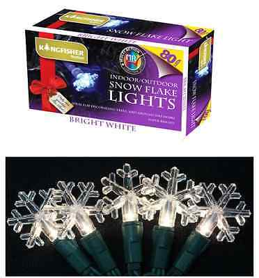 80 SNOWFLAKE LED CHRISTMAS STRING LIGHTS 13.7m MULTI ACTION FESTIVE DECORATIONS
