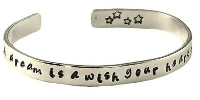 A Dream is a Wish Your Heart Makes Hand Stamped Bracelet Customizable