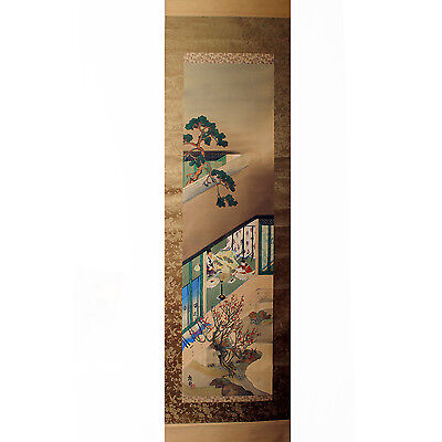 Vintage Original Rare Japanese Hanging Scroll Painting Collectable Antique